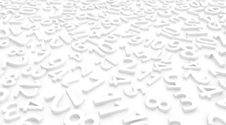 Numbers arranged symbols many white on surface, 3d illustration, horizontal