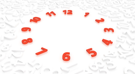 Numbers white on surface, red time symbol circle, 3d illustration, horizontal
