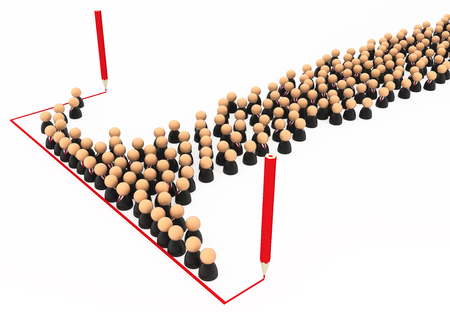 Crowd of small symbolic businessmen figures, red line draw, 3d illustration, horizontal, over white, isolated