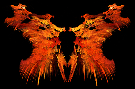 Flame strange mirrored double special effect abstract, dark background, horizontal