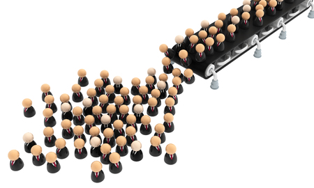 Crowd of small symbolic businessmen figures conveyor belt, 3d illustration, horizontal, over white, isolated
