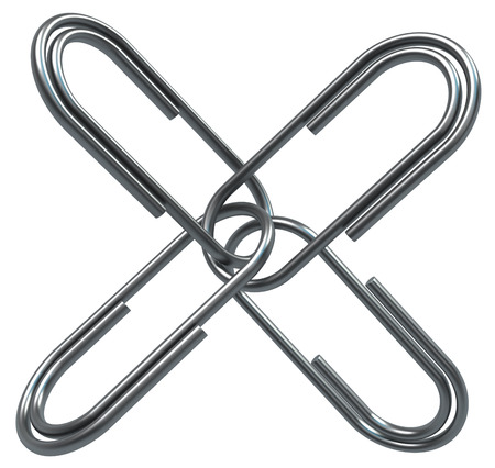 Metal paperclips four connected together cross, isolated, 3d illustration, horizontal, over white