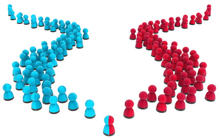 Crowd of small symbolic figures red and blue split groups, 3d illustration, horizontal, isolated, over white