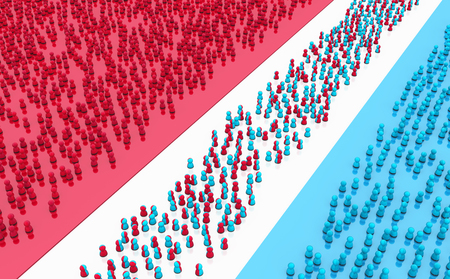 Crowd of small symbolic figures red and blue split areas, 3d illustration, horizontal background