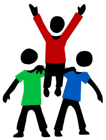 Friends lift up figures cartoon, vector illustration, horizontal, isolated