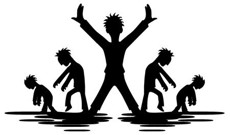 Celebrity individualist figure stencil black, vector illustration, horizontal, isolated Çizim