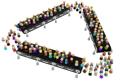 Crowd of small symbolic figures ride conveyor belt triangle, 3d illustration, horizontal, isolated, over white 写真素材