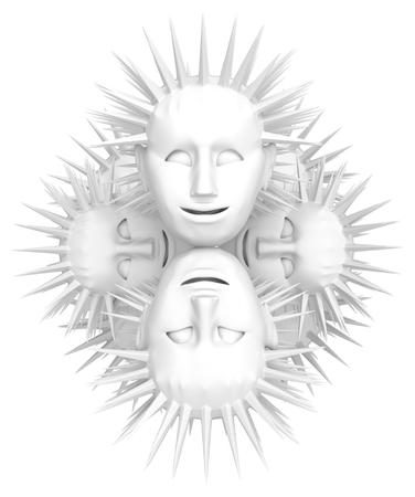 Sculpture heads white spiky hair, 3d illustration, horizontal, isolated