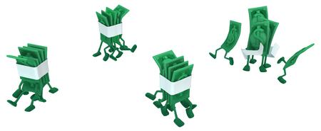 Dollar money symbol cartoon characters running crowd, 3d illustration, horizontal, isolated, over white Stock Illustration - 97503126