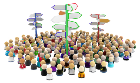 Crowd of small symbolic figures with signposts, 3d illustration, horizontal, isolated, over white Stock Photo