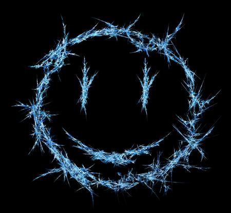 Ice shard smile face shape symbol abstract, horizontal, isolated, over black Stock Photo