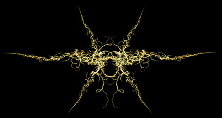 Electric spark mask fractal yellow abstract element, horizontal, over black background