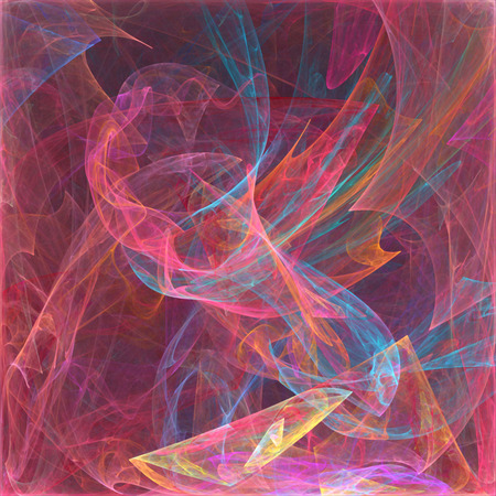 Color swirl square abstract fractal, horizontal background