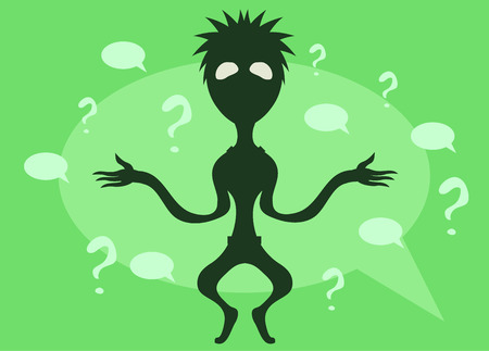 Confused speech bubble person cartoon, vector illustration, horizontal. Çizim