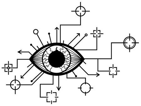 Eye targets surveillance symbol drawing stylized black, vector illustration, horizontal, isolated. Illustration
