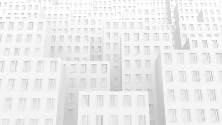 Building facades empty urban white abstract, 3d illustration, horizontal background
