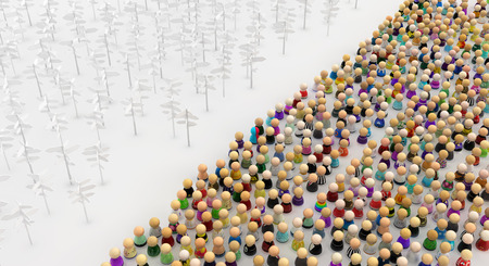 Crowd of small symbolic figures, signposts area, 3d illustration, horizontal