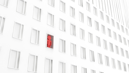 Building facade one person urban white abstract, 3d illustration, horizontal background Stock Photo