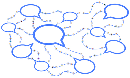 Crowd of small symbolic 3d figures linked by lines, speech bubbles connected, over white, horizontal Stock Photo
