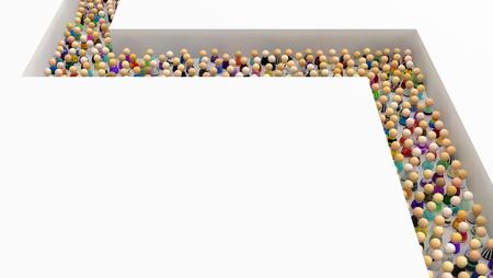 Crowd of small symbolic figures corner path deep, 3d illustration, horizontal