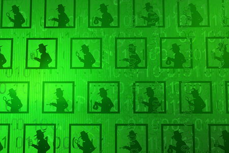 Spy shadow figures database green, cyberspace virtual reality abstract 3d illustration, horizontal