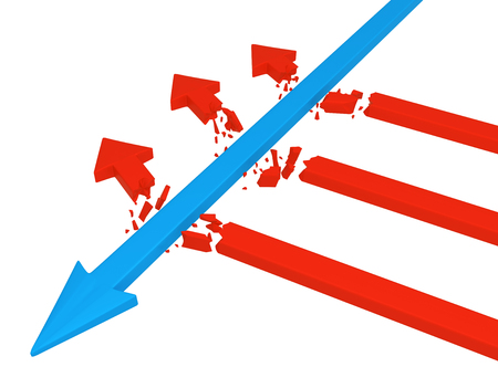 Blue symbolic arrow crushing breaking smaller red, 3d illustration, horizontal, over white, isolated Stock Photo