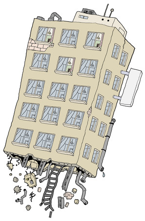 Apartment building flying uprooted detached cartoon element, vector illustration, vertical, isolated