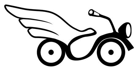Winged bike symbol stencil black, vector illustration, horizontal, isolated Illustration