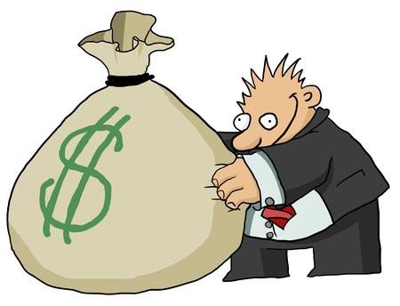 Money bag grabber cartoon color drawing, vector illustration, horizontal, over white Illustration