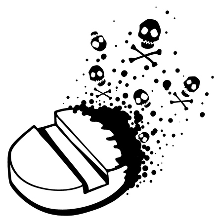 Deadly drug pill line drawing black, stylized vector illustration, horizontal, over white, isolated