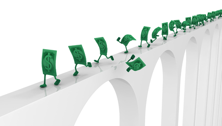 Dollar money symbol cartoon characters running on high narrow bridge, 3d illustration, horizontal, isolated, over white