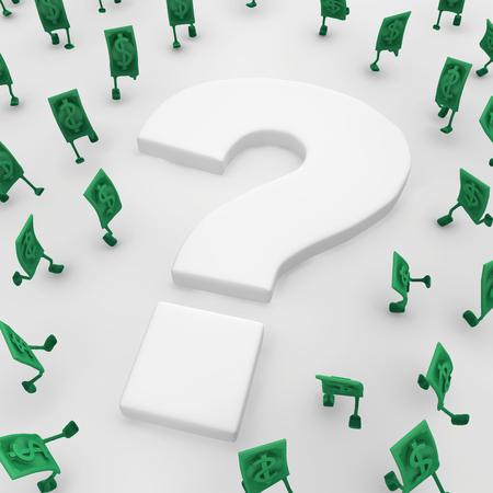 Dollar money symbol cartoon characters around question mark, 3d illustration, horizontal, over white Stock Illustration - 101900332