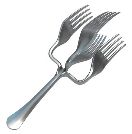 Fork quadruple split improvement novelty odd, 3d illustration, horizontal, isolated, over white