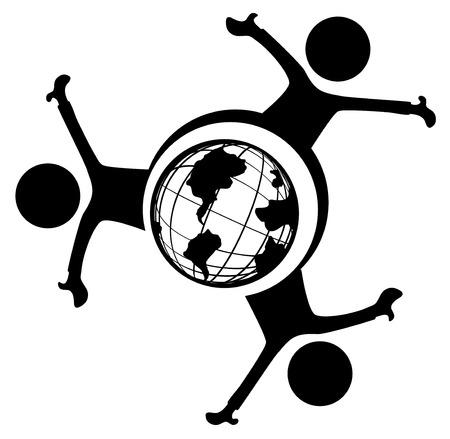 World people three symbol stencil black, vector illustration, horizontal, over white, isolated