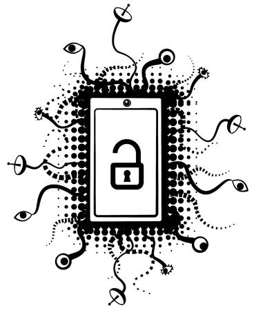 Smart phone surveillance abstract symbol stencil black design, vector illustration, vertical, over white, isolated