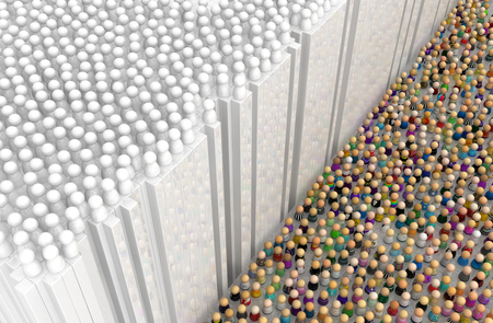 Crowd of small symbolic figures, under white wall, 3d illustration, horizontal background