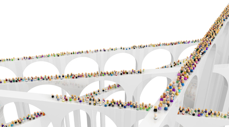 Crowd of small symbolic figures, high harrow bridges crossing, 3d illustration, horizontal background
