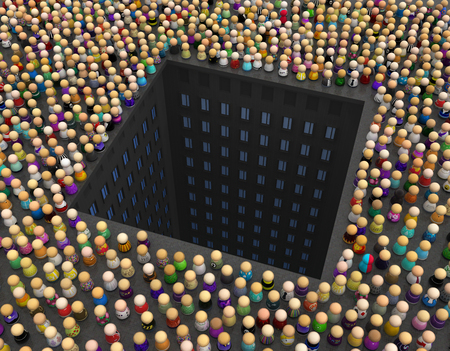 Crowd of small symbolic figures, city buildings pit, 3d illustration, horizontal background