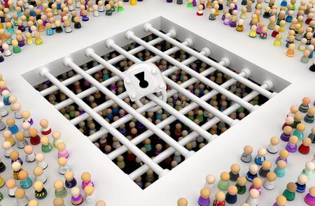 Crowd of small symbolic figures, prison bars below, 3d illustration, horizontal background Banco de Imagens