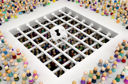 Crowd of small symbolic figures, prison bars below, 3d illustration, horizontal background Stock Photo