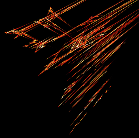 Fire meteor shower line traces special effect abstract, dark background, horizontal Stock Photo