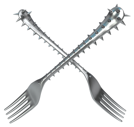 Forks handle covered in sharp spikes, metaphor 3d illustration, horizontal, isolated, over white