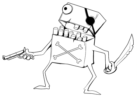 Cigarette Pirate character cartoon drawing, vector illustration, horizontal, over white, isolated