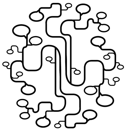 Speech bubbles growth spread abstract line drawing black, stylized vector illustration, vertical, over white, isolated