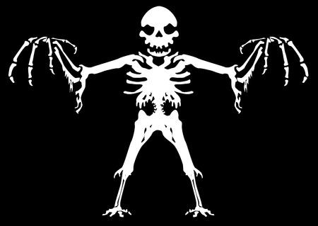 Scary ghostly skeleton figure, nightmare Halloween vector illustration, horizontal, black background, isolated