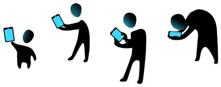 Phone user ages figure stencils set black, vector illustration, horizontal, over white, isolated Ilustração