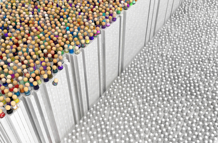 Crowd of small symbolic figures, white wall edge, 3d illustration, horizontal background
