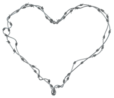Barbed wire heart, grey metal 3d illustration, isolated, horizontal, over white