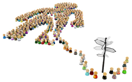 Crowd of small symbolic figures forming big person shape signpost, 3d illustration, horizontal, isolated, over white Stock Photo