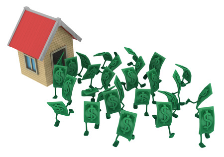 Dollar money symbol cartoon characters running out of house, 3d illustration, horizontal, isolated, over white Archivio Fotografico - 102410514